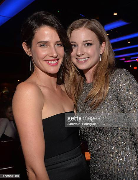 """Actresses Cobie Smulders and Emily VanCamp attend the after party for Marvel's """"Captain America: The Winter Soldier"""" premiere at the El Capitan..."""