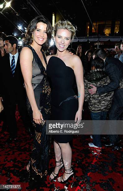 Actresses Cobie Smulders and Scarlett Johansson attend the premiere of Marvel Studios' Marvel's The Avengers held at the El Capitan Theatre on April...