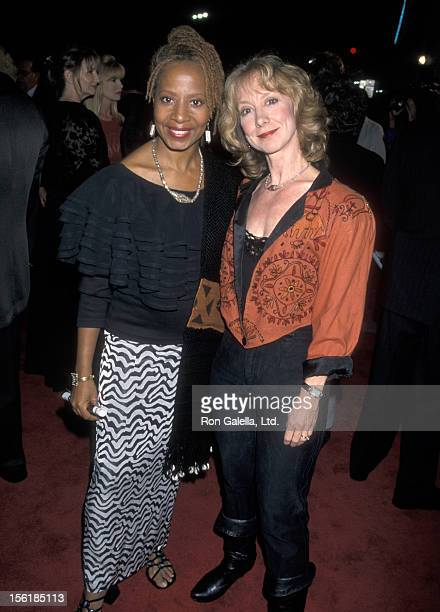 Actresses Conni Marie Brazelton and Ellen Crawford attend the premiere of 'Soldier' on October 21 1998 at Mann Chinese Theater in Hollywood California