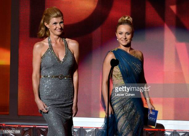 Actresses Connie Britton and Hayden Panettiere speak onstage at the 64th Primetime Emmy Awards at Nokia Theatre L.A. Live on September 23, 2012 in...