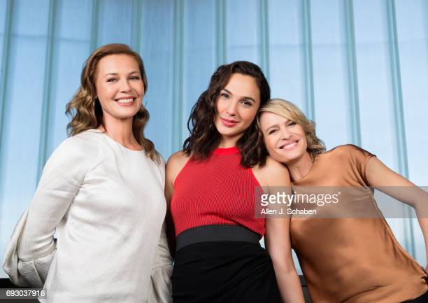 Actresses Connie Nielsen Gal Gadot Robin Wright of Warner Bros 'Wonder Woman' are photographed for Los Angeles Times on May 20 2017 in Los Angeles...