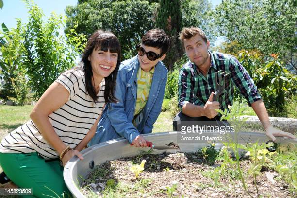 Actresses Constance Zimmer and Ginnifer Goodwin and singer Lance Bass attend The Environmental Media Association's 3rd Annual Garden Luncheon at...