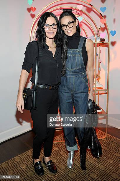 Actresses Courteney Cox and Demi Moore attend the Superga XO Jennifer Meyer Collection Launch Celebration at Chateau Marmont on February 9 2016 in...
