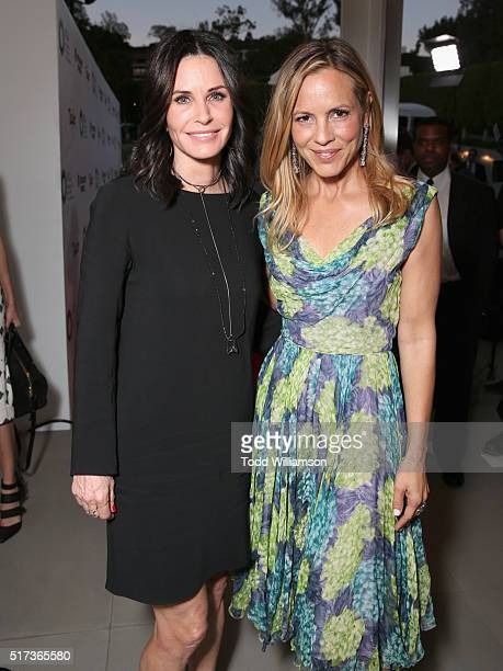 Actresses Courteney Cox and Maria Bello attend UCLA IOES celebration of the Champions of our Planet's Future on March 24 2016 in Beverly Hills...