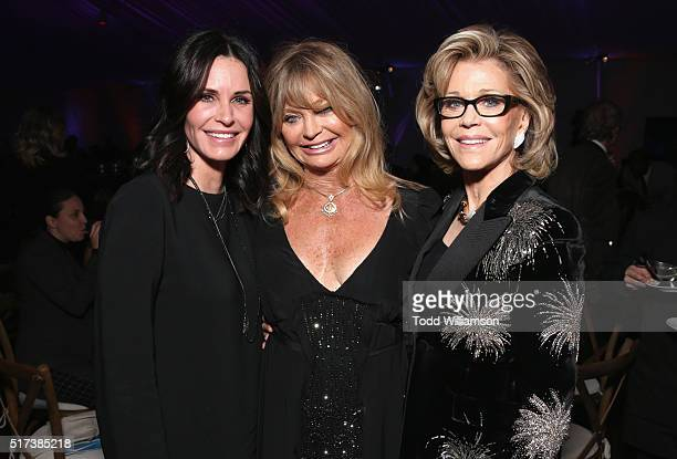 Actresses Courteney Cox Goldie Hawn and Jane Fonda attend UCLA IOES celebration of the Champions of our Planet's Future on March 24 2016 in Beverly...