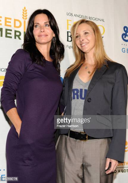 Actresses Courteney CoxArquette and Lisa Kudrow arrives at the Rock A Little Feed Alot benefit concert held at Club Nokia on September 29 2009 in Los...