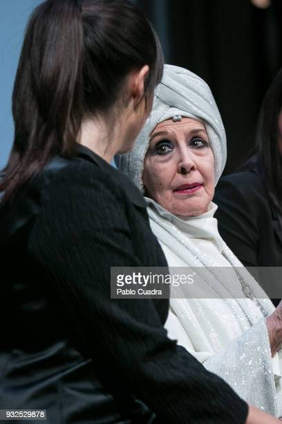Actresses Cristina Abad and Concha Velasco perform on stage during the 'El Funeral' at 'Teatro Calderon' on March 15 2018 in Valladolid Spain