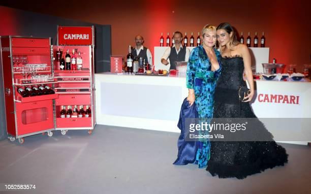 """Actresses Cristina Donadio and Pina Turco of the movie """"Il Vizio Della Speranza"""" are seen at the Campari Red Room during the 13th Rome Film Fest at..."""