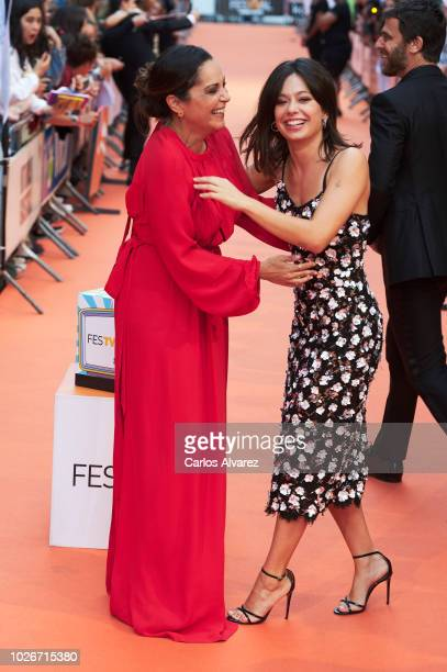 Actresses Cristina Plazas and Anna Castillo attend 'Estoy Vivo' premiere at the Principal Teather during the FesTVal 2018 on September 4 2018 in...