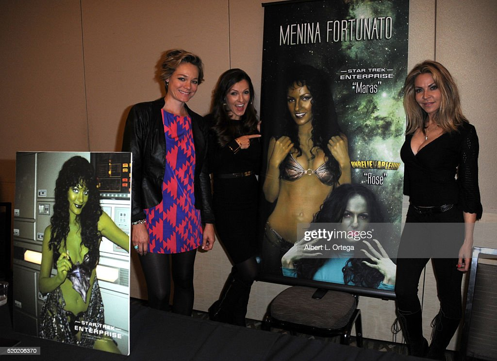 Actresses Crystal Allen, Menina Fortunato and Cyia Batten at the The Hollywood Show held at Westin LAX Hotel on April 9, 2016 in Los Angeles, California.