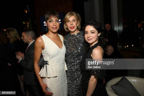 Actresses Cush Jumbo Christine Baranski and Sarah Steele attend The Good Fight World Premiere After Party at Jazz at Lincoln Center on February 8...