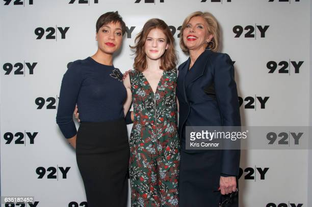 Actresses Cush Jumbo Rose Leslie and Christine Baranski attends the The Good Fight conversation at 92Y on February 13 2017 in New York City
