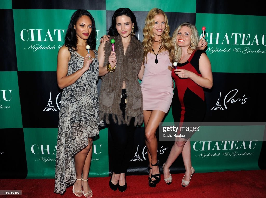 Actresses Cynthia Addai-Robinson, Katrina Law, Ellen Hollman and Bonnie Sveen arrive at the Chateau Nightclub & Gardens at the Paris Las Vegas on February 24, 2012 in Las Vegas, Nevada.