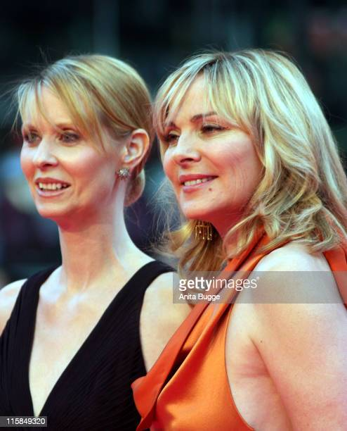 Actresses Cynthia Nixon and Kim Cattrall attend the German premiere of 'Sex And The City' at the Cinestar movie theatre on May 15 2008 in Berlin...