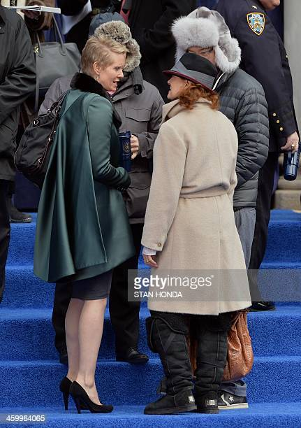 Actresses Cynthia Nixon and Susan Sarandon before the inauguration of New York City Mayor Bill de Blasio on the steps of City Hall in Lower Manhattan...