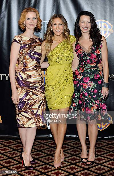 """Actresses Cynthia Nixon, Sarah Jessica Parker and Kristin Davis arrive at the Warner Bros. Pictures presentation to promote their new film, """"Sex and..."""