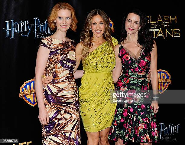 Actresses Cynthia Nixon, Sarah Jessica Parker and Kristin Davis arrive at the Warner Bros. Pictures presentation to promote their upcoming film 'Sex...