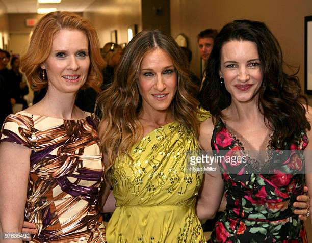 Actresses Cynthia Nixon Sarah Jessica Parker and Kristin Davis backstage at Warner Bros Pictures' Big Picture 2010 during ShoWest 2010 held at Paris...