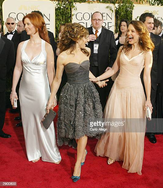 Actresses Cynthia Nixon Sarah Jessica Parker and Kristin Davis attend the 61st Annual Golden Globe Awards at the Beverly Hilton Hotel on January 25...