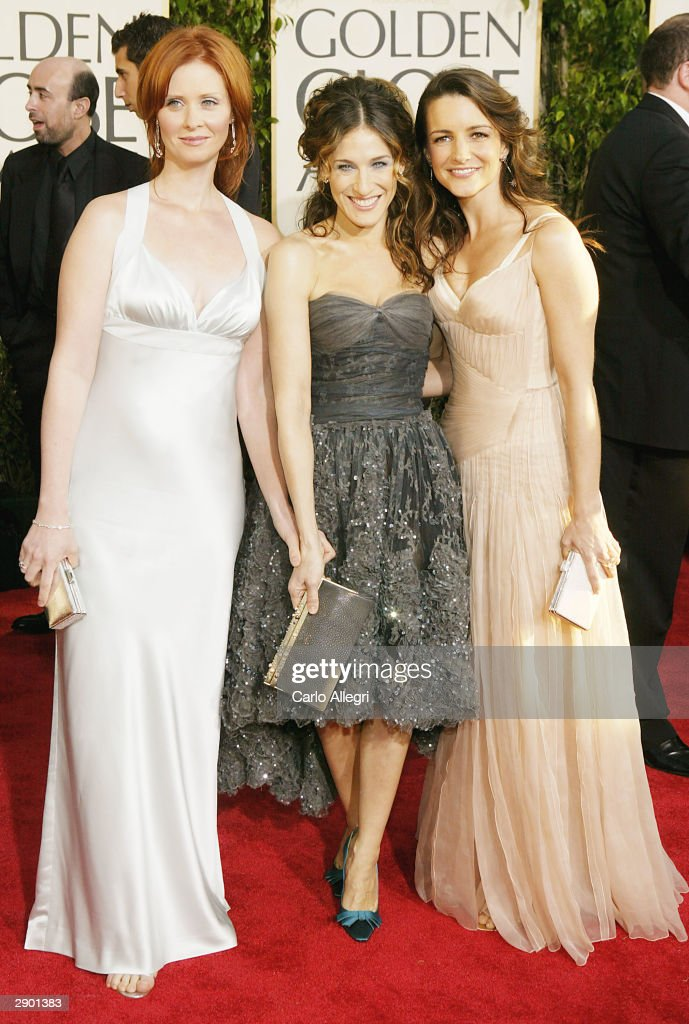 Actresses Cynthia Nixon, Sarah Jessica Parker and Kristin Davis attend the 61st Annual Golden Globe Awards at the Beverly Hilton Hotel on January 25, 2004 in Beverly Hills, California.
