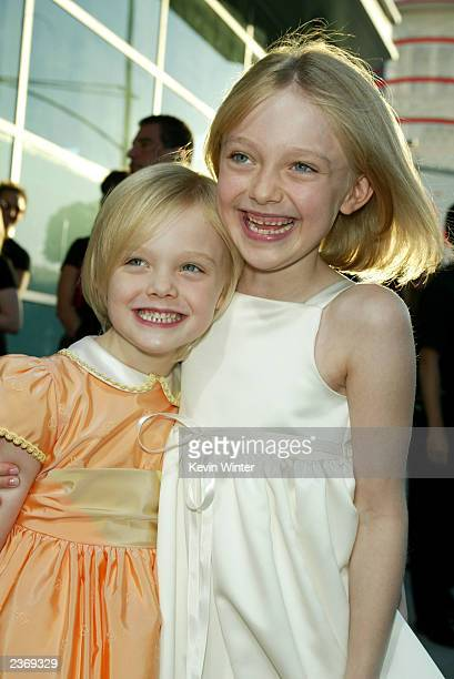 Actresses Dakota and Elle Fanning attends the MGM Pictures Los Angeles premiere of the film Uptown Girls at the ArcLight Cinerama Dome August 4 2003...