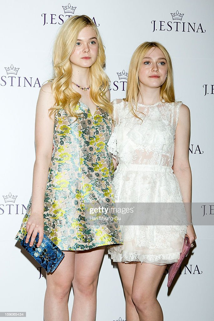 Actresses Dakota Fanning and Elle Fanning attend a promotional event for the 2013 J.ESTINA SS presentation at Shilla Hotel on January 7, 2013 in Seoul, South Korea.