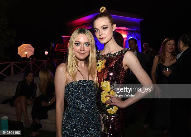 Actresses Dakota Fanning and Elle Fanning pose at the after party for the premiere of Amazon's The Neon Demon at the Hollywood Forever Cemetery on...