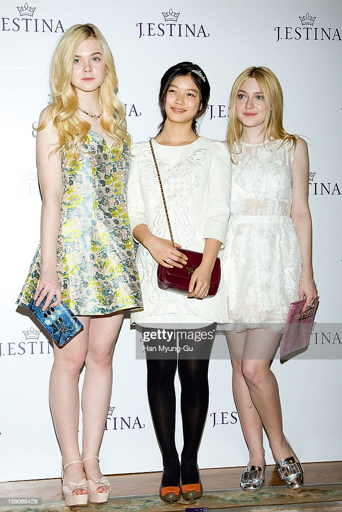 Actresses Dakota Fanning, Elle Fanning and Kim You-Jung attend a promotional event for the 2013 J.ESTINA SS presentation at Shilla Hotel on January 7, 2013 in Seoul, South Korea.
