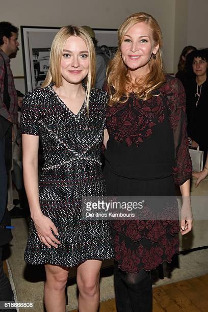 Actresses Dakota Fanning wearing CHANEL and Jennifer Westfeldt attend Through Her Lens The Tribeca CHANEL Women's Filmmaker Program cocktail on...