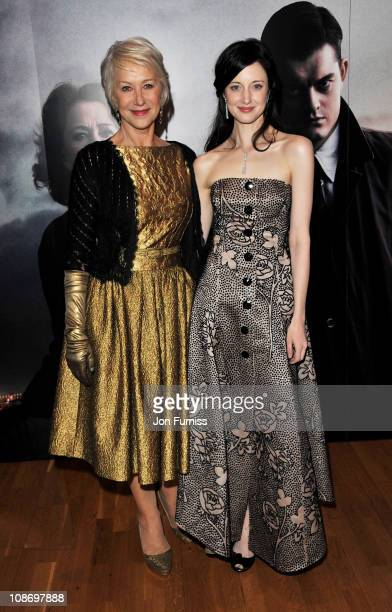 Actresses Dame Helen Mirren and Andrea Riseborough attend the European Premiere of Brighton Rock at Odeon West End on February 1 2011 in London...