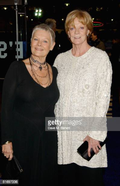 Actresses Dame Judi Dench and Dame Maggie Smith arrive at the Cinema and Television Benevolent Fund Royal Film Performance annual charity screening,...