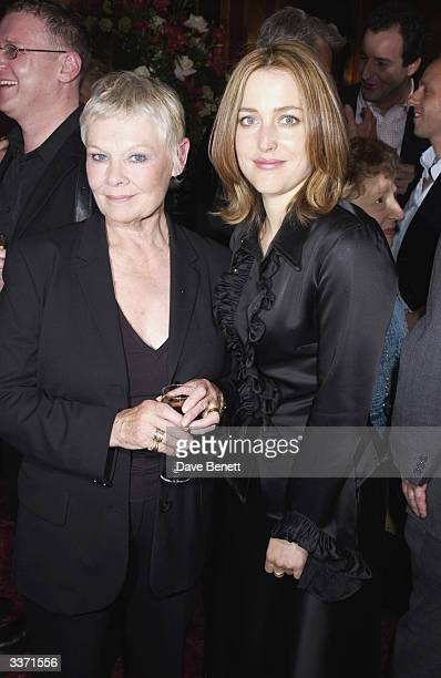 Actresses Dame Judi Dench and Gillian Anderson at the UK Neurofibromatosis Association 20th Anniversary Gala Concert held at the Theatre Royal on...