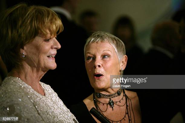 Actresses dame Maggie Smith and dame Judi Dench arrive at the Cinema and Television Benevolent Fund Royal Film Performance annual charity screening...