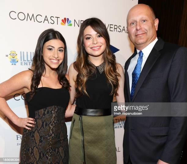 Actresses Dana Gaier Miranda Cosgrove and producer/CEO of Illumination Entertainment Chris Meledandri attend the STARS 2013 Benefit Gala By The...