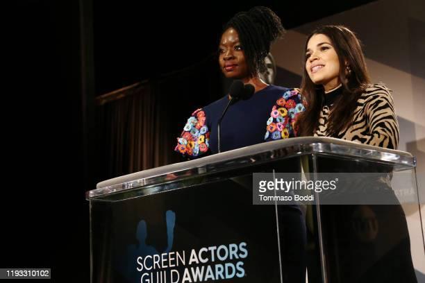 Actresses Danai Gurira and America Ferrera speak at the 26th Annual Screen Actors Guild Awards Nominations Announcement at Pacific Design Center on...