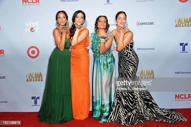 Actresses Dania Ramirez Edy Ganem Judy Reyes and Ana Ortiz pose in the press room during the 2012 NCLR ALMA Awards at Pasadena Civic Auditorium on...