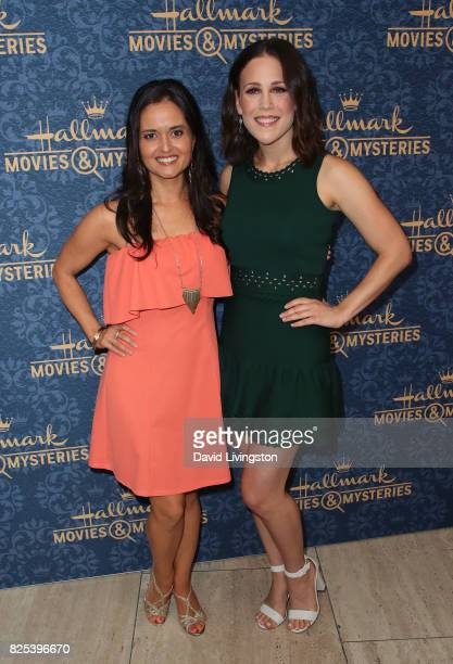 Actresses Danica McKellar and Erin Krakow attend the premiere of Hallmark Movies Mysteries' 'Garage Sale Mystery' at The Paley Center for Media on...