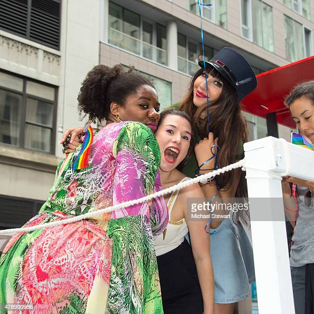 Actresses Danielle Brookes Yael Stone and Jackie Cruz attend the 2015 New York City Pride march on June 28 2015 in New York City