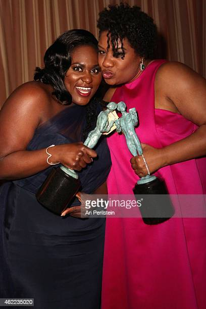 Actresses Danielle Brooks and Adrienne C Moore attend The Weinstein Company Netflix's 2015 SAG After Party In Partnership With Laura Mercier at...
