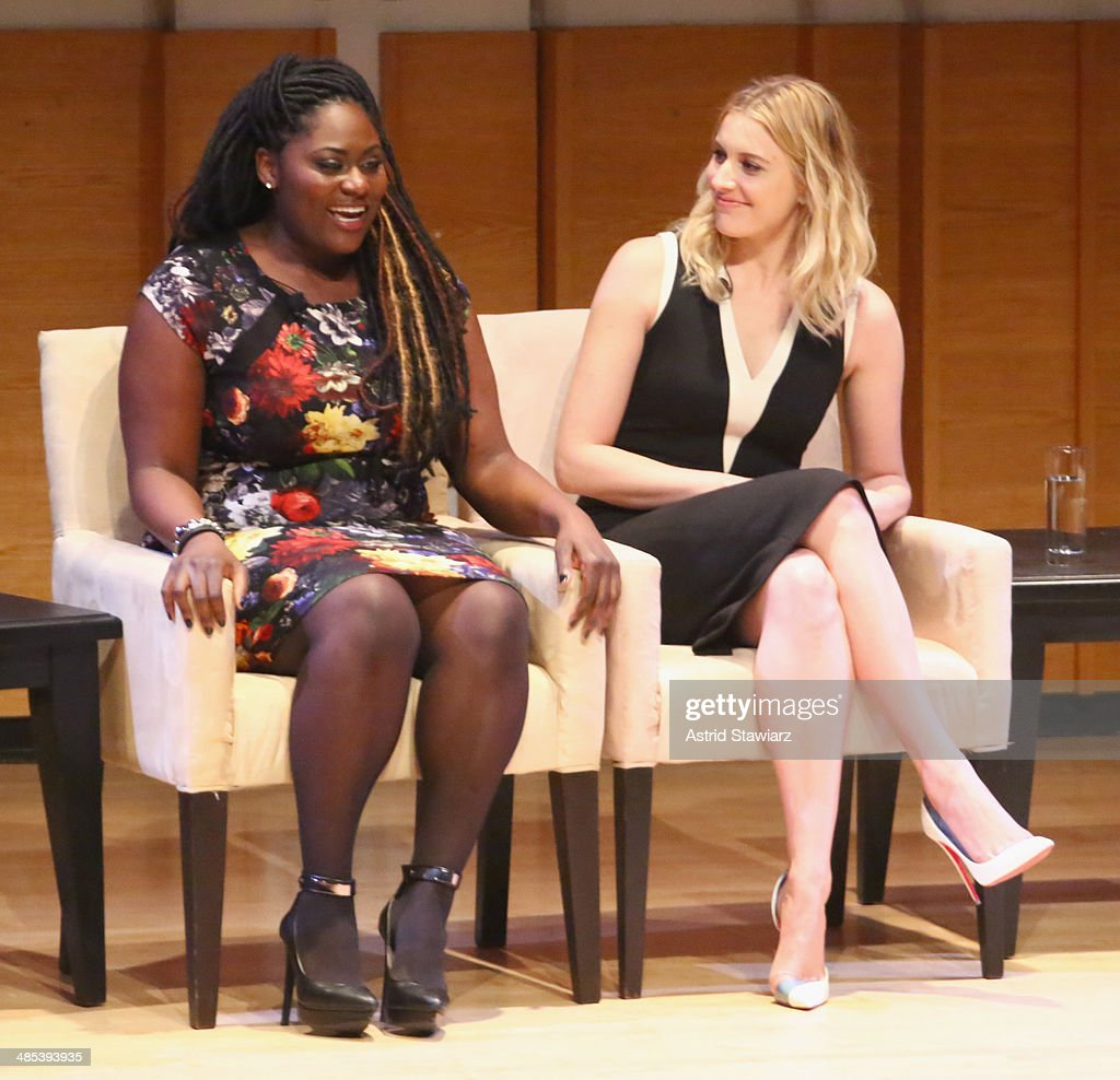 Actresses Danielle Brooks and Greta Gerwig participate in a panel discussion during Glamour And L'Oreal Paris 2014 Top Ten College Women Celebration at Kaufman Music Center on April 17, 2014 in New York City.