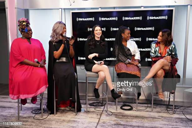 Actresses Danielle Brooks Laverne Cox Laura Prepon Uzo Aduba and Dascha Polanco from Orange Is The New Black are interviewed by Larry Flick during a...