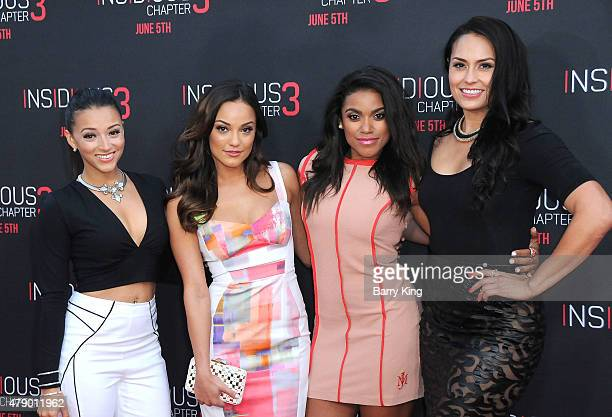 Actresses Danielle Vega Alexandra Rodriguez Vivian Lamolli and Jes Meza attend the premiere of Focus Features' 'Insidious Chapter 3' at the TCL...