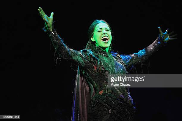 Actresses Danna Paola performs on stage during the musical Wicked media call at Teatro Telmex on October 18 2013 in Mexico City Mexico