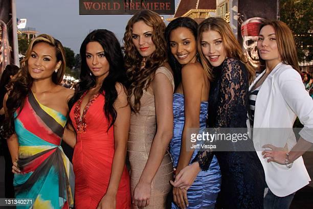 Actresses Daphne Joy Antoinette Nikprelaj Toni Busker Sanya Hughes Jorgelina Airaldi and Breanne Beth Berrett arrive at the world premiere of...