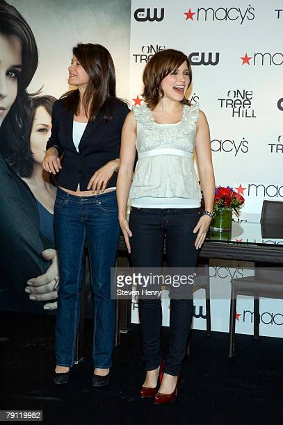 Actresses Daphne Zuniga and Sophia Bush pose on stage at Macy's Herald Square on January 19 2008 in New York City