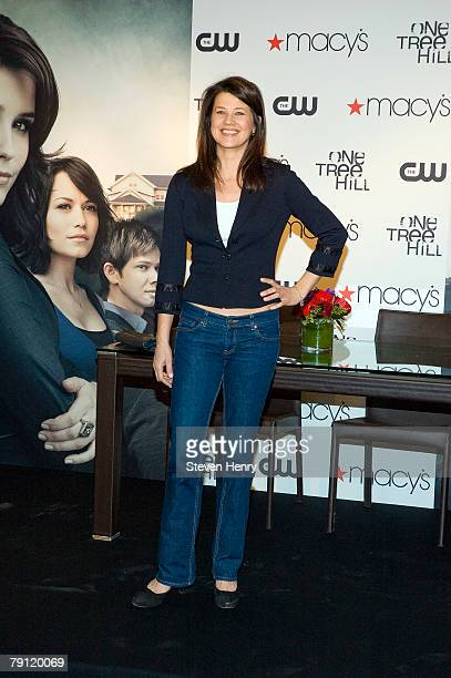 Actresses Daphne Zuniga poses on stage at Macy's Herald Square on January 19 2008 in New York City