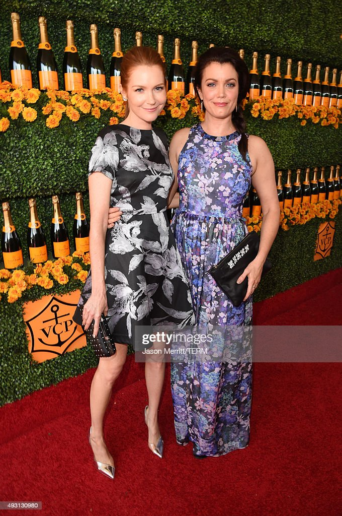 Actresses Darby Stanchfield (L) and Bellamy Young attend the Sixth-Annual Veuve Clicquot Polo Classic at Will Rogers State Historic Park on October 17, 2015 in Pacific Palisades, California.