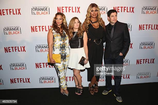 Actresses Dasha Polanco Natasha Lyonne Laverne Cox and actor Jason Biggs attend the Orange Is The New Black second season red carpet at Fotomuseo...