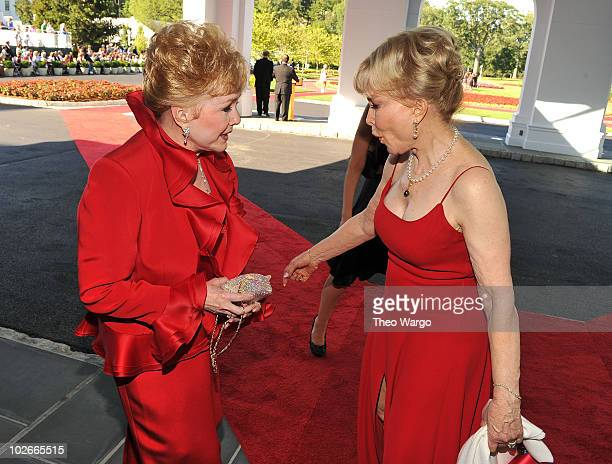 Actresses Debbie Reynolds and Barbara Eden attend The Greenbrier for the gala opening of the Casino Club on July 2 2010 in White Sulphur Springs West...