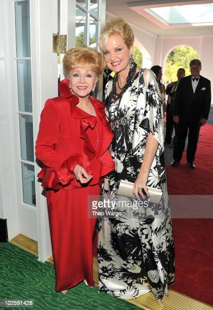 Actresses Debbie Reynolds and Christine Ebersole attend The Greenbrier for the gala opening of the Casino Club on July 2 2010 in White Sulphur...